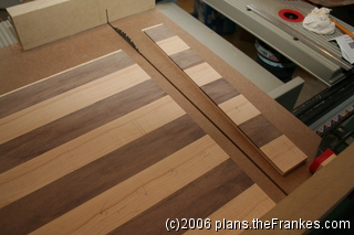 Cutting the first strip of squares