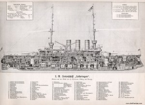 "Cutaway drawing of S.M. Linienschiff ""Lothringen"""