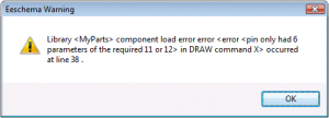KiCAD Eeschema Component Load Error message