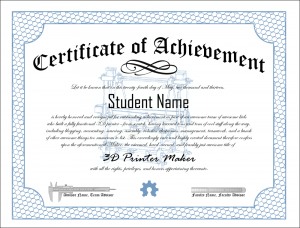 3D Printer Club Certificate of Achievement